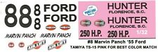 #8 Marvin Panch Hunter 1955 Ford 1/32nd Scale Slot Car Waterslide Decals