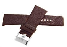 Diesel 26mm x 24mm Brown Leather Watch Band With Silver Buckle