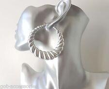 Gorgeous large vintage MATT silver tone acrylic creole style hoop earrings