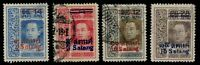 "1914-16 Thailand Siam King Vajiravudh Surcharge ""Vienna"" Issue Used Sc#157-60"