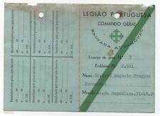 PORTUGAL WEAPON CARTÃO LICENSE CARD PORTUGUESE LEGION FACIST UNIT 1938 RARE