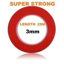 3mm Red Double Sided Adhesive Sticky Tape Easy Lift Super Strong Length 25M