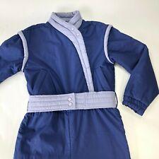 Vintage 80s OBERMEYER Retro Blue Lavender One Piece Ski Snow Suit Women Size 10