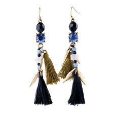 NEW Urban Anthropologie Ottavia Chain Blue Tan Cloth Gemmed Dangling Earrings