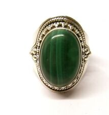 Handmade 925 Sterling Silver Ring with Real Malachite Stone Size R 1/2