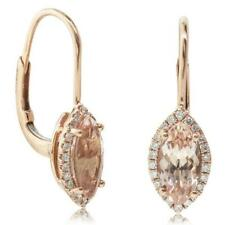 Women's Drop Earring 2.0ct Marquise Morganite Halo Cz Dia 14k Rose Gold Finish