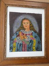 L'école de Cuzco-Cusco-Vierge à l'enfant-Tableau- huile/toile-Icône PEROU-XIX