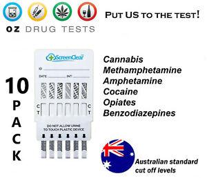 10x 6 PANEL URINE DRUG TEST, DRUG TESTING, DRUG SCREEN AUSTRALIAN STANDARD