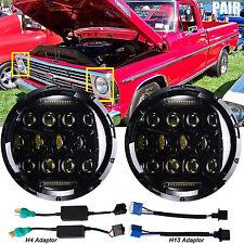 "Pair 7""Inch 75W LED Round Headlight Hi/Lo Beam DRL H6024 Fit Ford F-150 Aerostar"