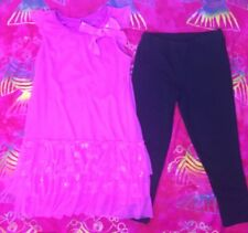 girls toddlers pink lace top w bow & black pants size 6x cute princess casual