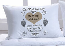 Pair of Wedding day pillowcases fully personalised