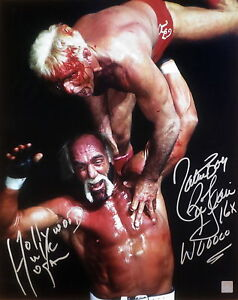 "Hollywood Hulk Hogan & ""Nature Boy"" Ric Flair Autographed 16x20 Photo ASI Proof"