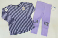 NWT Old Navy Girls 12 18 24 Months 2t 3t or 4t Purple Peace Top & Love Leggings