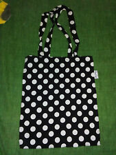 Shopper borsa shopping in tela cotone Happy Socks nero pois bianchi tote bag