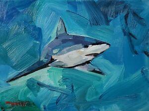JOSE TRUJILLO Oil Painting IMPRESSIONISM 9x12 SHARK BLUE MARINE WATER SIGNED