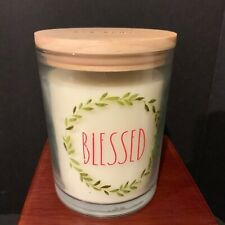 "Rae Dunn by Magenta Large Candle ""BLESSED"" 16 oz Winter Pine Scent 5 inch"