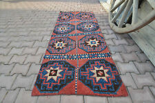 2.8x6.4 Red Blue Short Runner Turkish Knot Vintage Rug Geometric Star Octagon