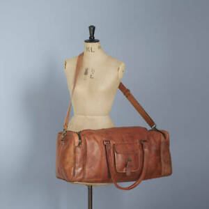Men's Brown Vintage Genuine Travel Luggage Duffel Gym Bags Long Lasting Leather