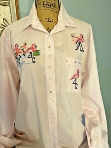 VTG 1980's LAS OLAS Women's Button Up Piink Striped Shirt Size L  FLAMINGOS
