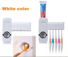 Automatic Toothpaste Dispenser+5 Toothbrush Holder Wall Mount Stand White NEW