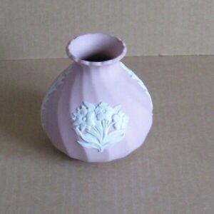 Wedgwood Jasperware Pink Floral Twisted Vase