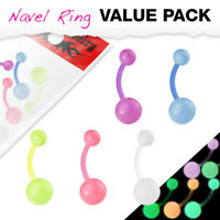 5pc Value Pack Bioflex Glow in the Dark Belly Rings 14g Navel Naval Body Jewelry