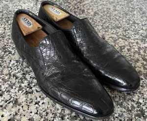 Stetson Genuine Alligator Skin Loafers Black Dress Shoes size 10 D Vintage