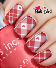 Nail Art Nail Decals Nail Transfers Nail Wraps - VALENTINES HEARTS AND CHECKS