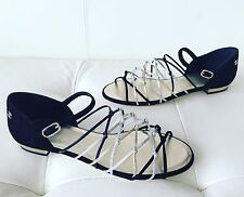 2017 CHANEL BLACK SUEDE SILVER GOLD LEATHER GLADIATOR STRAPPY SANDALS 38.5