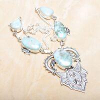 "Handmade Pale Blue Caribbean Larimar 925 Sterling Silver 18.5"" Necklace #N01294"