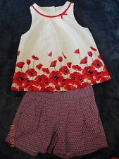 EEUC LKN Janie and Jack Girls size 7 PARISIAN POPPY RED Shirt Shorts Outfit perf