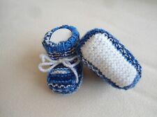 Babyschühchen-Söckchen gestrickt *Handarbeit* blaumeliert ca.9,5-10 cm*Neu 0-6 M