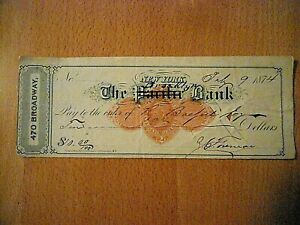 1874 Bank Check, The Pacific Bank New York, with Brooklyn Bank written in