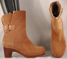 Women's UGG Brown Suede Leather Shearling Lined Mid Calf Boots US 6 EUR 37