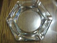 """Vintage Mid Century Large Heavy Glass Ashtray Clear Octagon 8.5"""""""