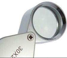 Silver 30x21mm Glass Magnifying Magnifier Jeweler Eye Jewelry Loupe Diamond Cash