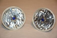"5 3/4"" Tri Bar BLUE Dot Street Hot Rat Rod Headlights H4 Bulbs GM Chevy Olds"