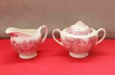 J & G Meakin Romantic England Red Transferware Creamer &  Sugar Bowl