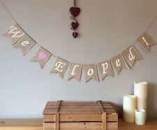 ❤️ We Eloped Eloping Wedding Bunting Hessian Banner Burlap Vintage Rustic❤️