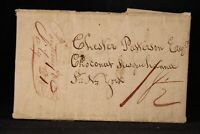 Vermont: Putney 1819 Stampless Cover Brown Fancy Vertical Ms 18-1/2c Rate to NYC
