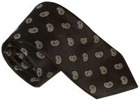 NEW BRIONI LIGHTLY TEXTURED BLACK-BROWN w GRAY PAISLEY 100% SILK NECK TIE