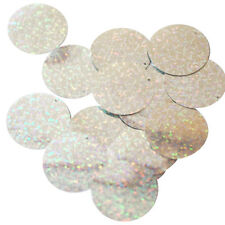 Silver Sequin 30mm Round Paillettes ~ Laser HOLOGRAM Metallic ~  Made in USA