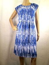 AB STUDIO Blue & White Geometric Short Sleeve Fit & Flare Dress Size 10