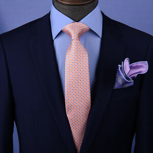"Tangerine & Blue Basket Woven 3"" Necktie Business Elegance for Smart Men's Ego"