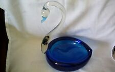 ITALIAN MURANO STYLE Hand Blown Glass Swan Bowl, Large Un-Labelled