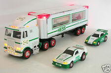 REDUCED---1997 Hess truck/2 racers/head & tail lights-bag-NIB-Birthday gift