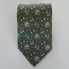 Dunhill Men's Neck Tie  110% Silk Green Red Gold Peas Cabbage Turnips