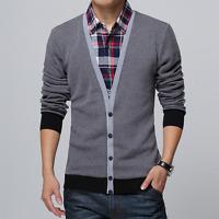 Mens Casual V-neck coat Knitwear Splice Plaids jacket Cardigan Blouse Sweater