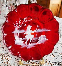 """FENTON LEGENDARY """"MARY GREGORY"""" STYLE RUBY PLATE 1995 90TH ANNIV.."""