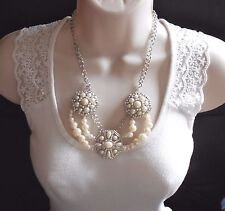 Striking Faux Pearl and Silver Chain Statement Necklace